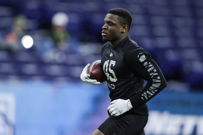 TCU wide receiver Jalen Reagor runs a drill at the NFL scouting combine in Indianapolis on Feb. 27, 2020.