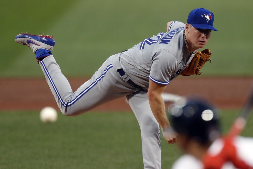 Toronto Blue Jays' Chase Anderson pitches during the first inning of a baseball game against the Boston Red Sox, Saturday, Aug. 8, 2020, in Boston. (AP Photo/Michael Dwyer)