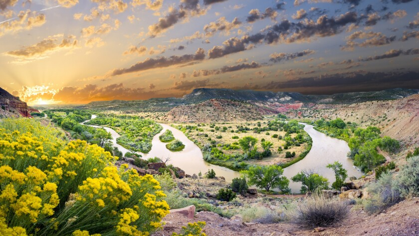 Early morning view of the Chama River Overlook near Abiquiu, New Mexico.