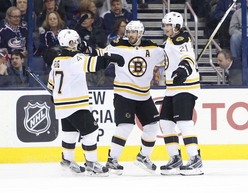Boston Bruins' Loui Eriksson, right, of Sweden, celebrates his game-winning goal against the Columbus Blue Jackets with teammates Torey Krug, left, and David Krejci, of the Czech Republic, during the overtime period of an NHL hockey game Tuesday, Feb. 16, 2016, in Columbus, Ohio. The Bruins beat th
