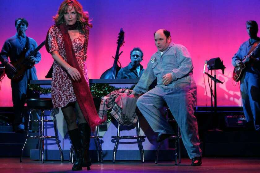 """Jason Alexander and Lea Thompson in a 2008 Reprise production of the musical """"I Love My Wife."""""""