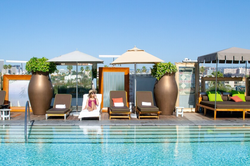 See and be seen at the rooftop pool at the SLS Beverly Hills.