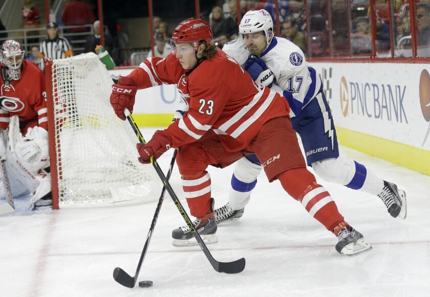 Carolina Hurricanes' Brock McGinn (23) and goalie Cam Ward, left, defend against Tampa Bay Lightning's Alex Killorn (17) during the first period of an NHL hockey game in Raleigh, N.C., Sunday, Nov. 1, 2015. (AP Photo/Gerry Broome)