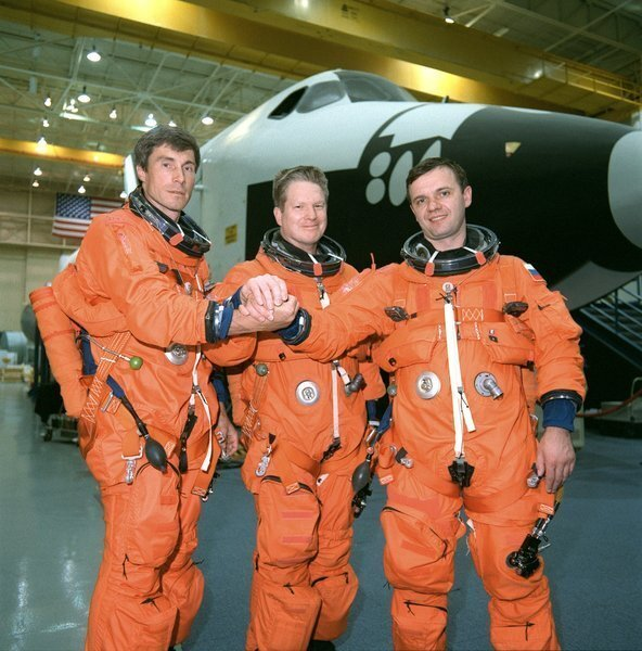 At Johnson Space Center: From left, Sergei Krikalev; William Shepherd, mission commander; Yuri Gidzenko. Expedition 1 was the first crew to complete a long-duration stay on the ISS -- 136 days -- and marked the beginning of uninterrupted human presence on the station.