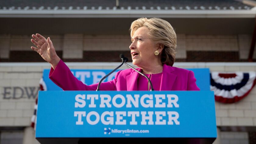 Democratic presidential candidate Hillary Clinton speaks at a rally at Pitt Community College in Winterville, N.C. on Nov. 3.