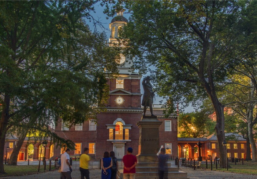 Independence Hall is acenterpiece of Independence National Historical Park in Philadelphia's Histo