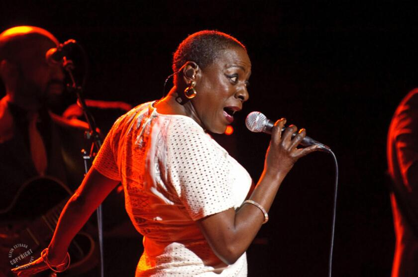 The soul singer Sharon Jones performing at the Wiltern in 2014. The artist has died after a long battle with pancreatic cancer. She was 60.