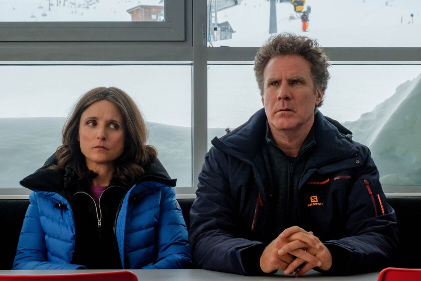 "Julia Louis-Dreyfus and Will Ferrell in ""Downhil."""