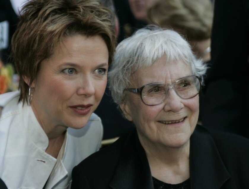 Harper Lee, with actress Annette Bening, made a rare public appearance in 2005 to accept an award from the Los Angeles Public Library.