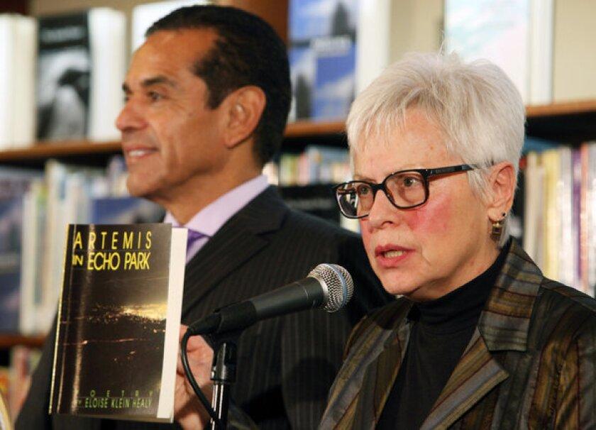 Eloise Klein Healy accepts the role of Los Angeles' first poet laureate. Mayor Antonio Villaraigosa introduced her.