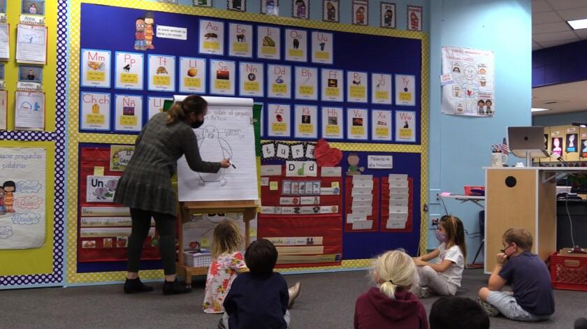 Kindergarten students in Del Mar Union School District's Spanish immersion program.