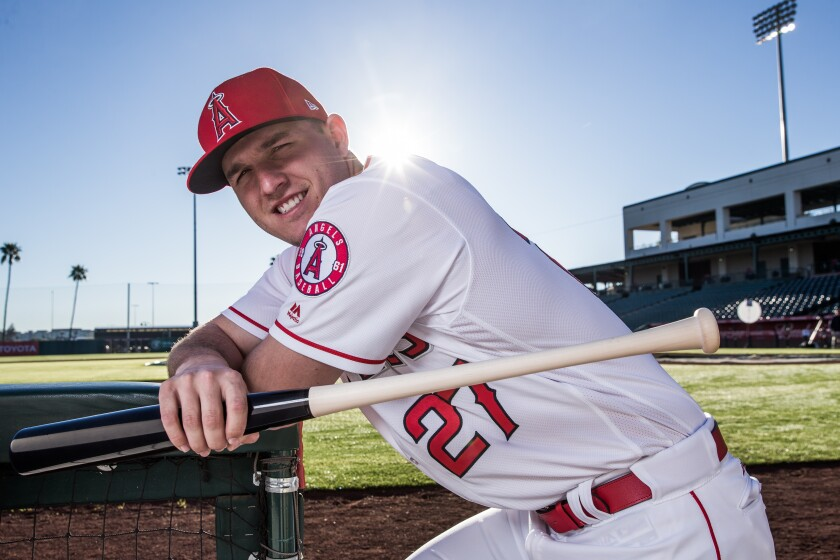 Angels outfielder Mike Trout poses for a portrait during media day on Feb. 21, 2017 at Tempe Diablo Stadium.