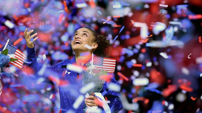 Lauren Hernandez celebrates after making the U.S. Olympic team.