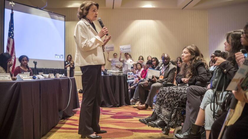 OAKLAND, CA JULY 14, 2018 -- Senator Dianne Feinstein speaks before the women's caucus at the Marrio