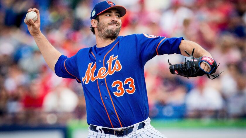 Matt Harvey, pitcher for the New York Mets, throws a pitch during a spring training matchup at First Data Field in Port St. Lucie, Fla.