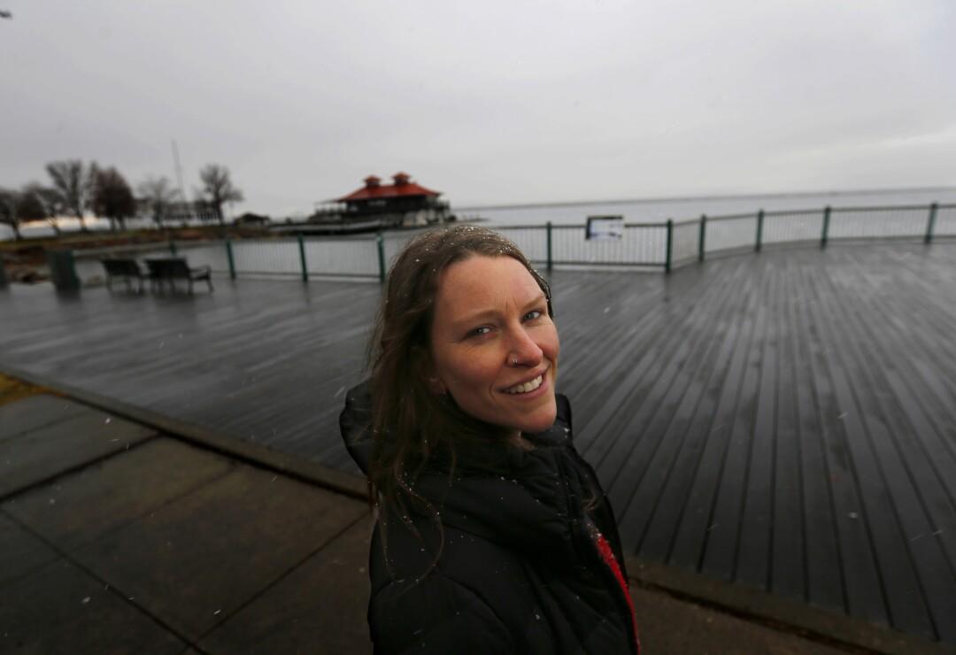Ashley Horton walks along the waterfront of Burlington, where she first met Bernie Sanders several years ago.
