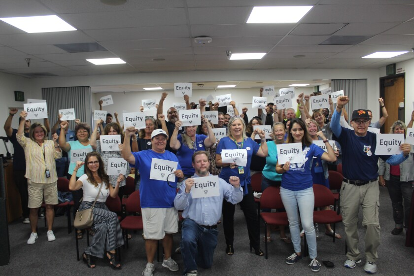 San Dieguito Union High School District classified staff members seek a salary increase.