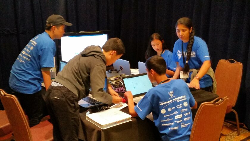 The CyberFalcon Millennium 360 team from Oak Valley Middle School in the heat of battle during the national competition in Baltimore.