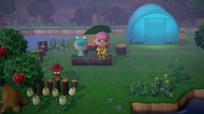"Players sit on a log together in the game ""Animal Crossing"""