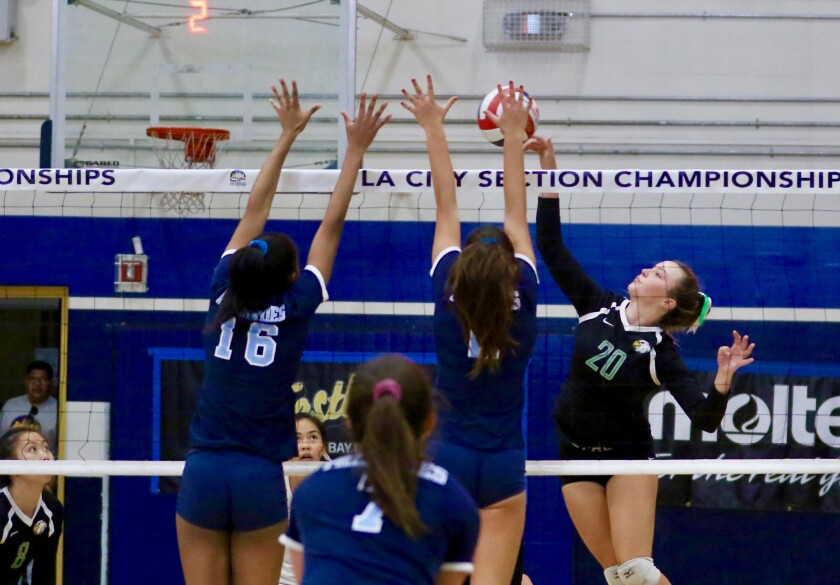 Eagle Rock's Wendy Jurenec (20) attempts a spike against Palisades during the City Section Open Division championship match on Saturday night.