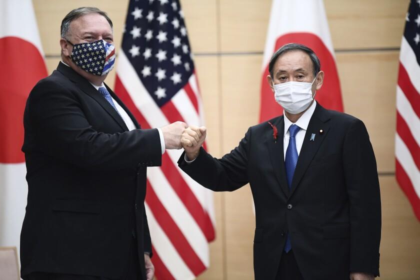 Japan's Prime Minister Yoshihide Suga and U.S. Secretary of State Michael R. Pompeo