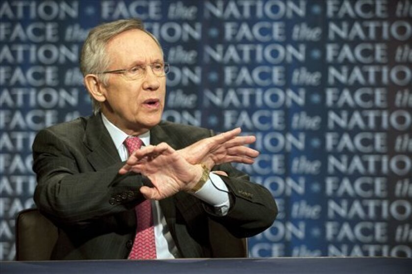 "In this photo released by CBS, Sen. Harry Reid, D-Nev., talks about the possibility of a government shutdown over a budget impasse and U.S. military action in Libya on CBS's ""Face the Nation"" in Washington Sunday, April 3, 2011. (AP Photo/CBS, Chris Usher) NO ARCHIVES. NO SALES."