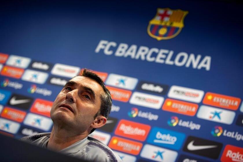 El entrenador del FC Barcelona, Ernesto Valverde, en rueda de prensa este sábado. EFE