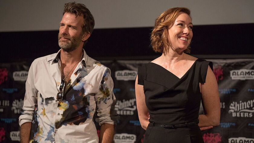 """Actors Thomas Jane and Molly Parker at the premiere of """"1922"""" at Fantastic Fest."""