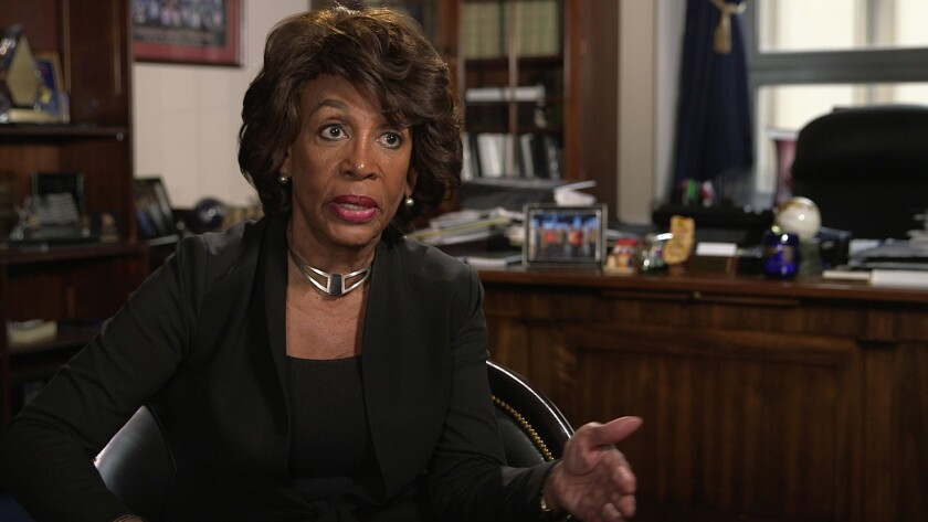 """A photograph of Maxine Waters from the movie """"Fail State."""" Credit:"""