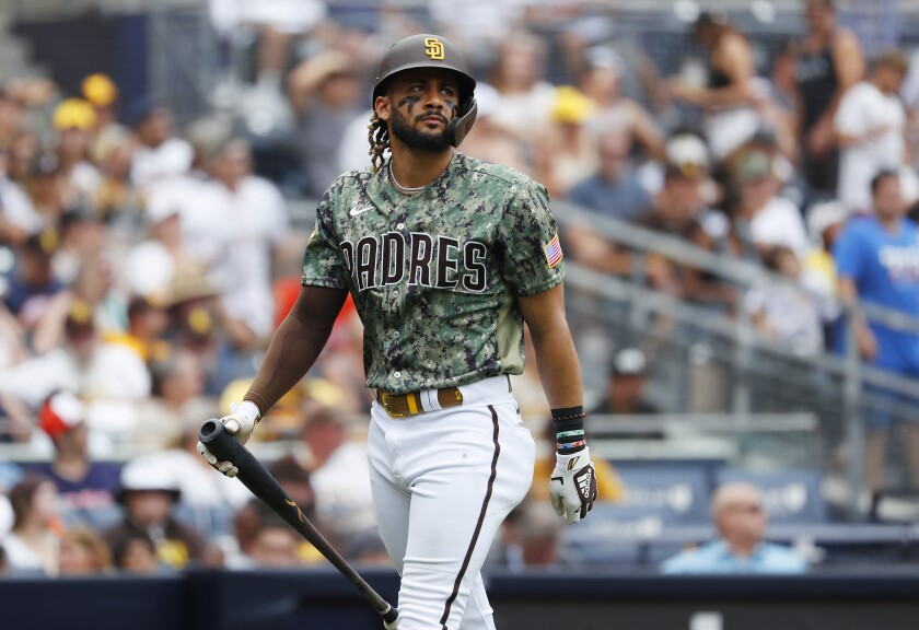 San Diego Padres' Fernando Tatis Jr. strikes out