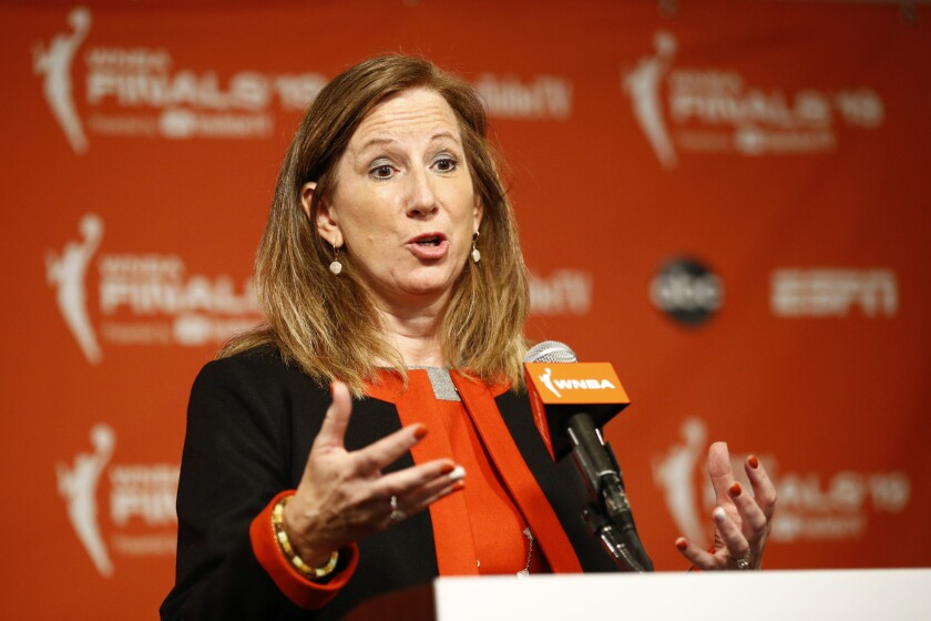 WNBA Commissioner Cathy Engelbert speaks at a news conference Sept. 29 in Washington.