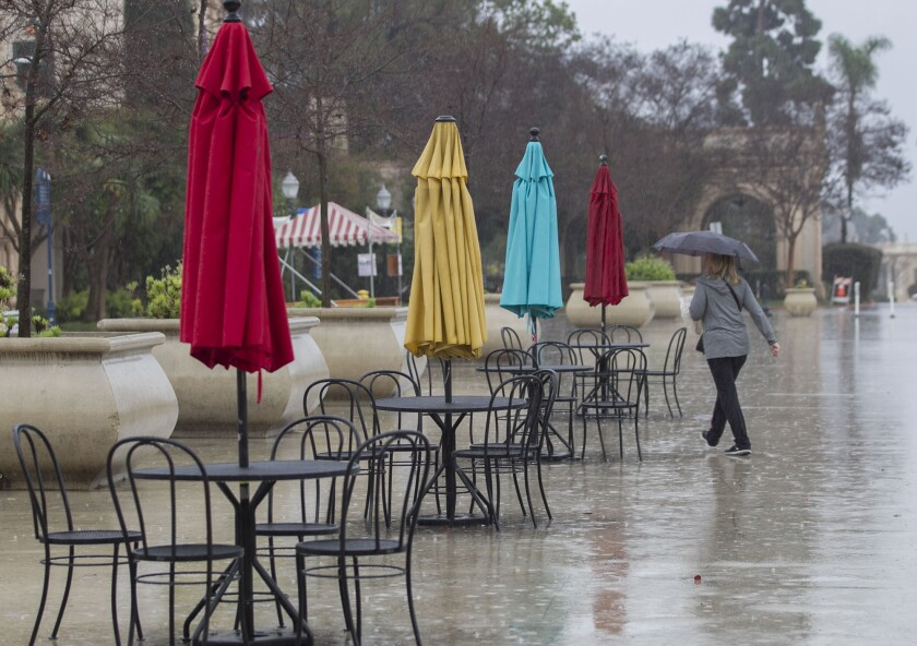 Showers are expected in San Diego County both Friday and Saturday afternoon.