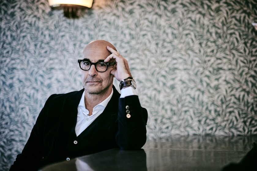 """Stanley Tucci, at London's Olympic Studio, says the emotional journey of """"Supernova"""" is universal."""