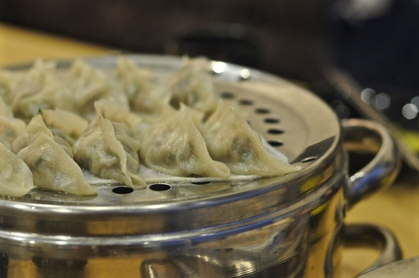 Dumplings from Chungsil Hongsil, a new restaurant in Koreatown.