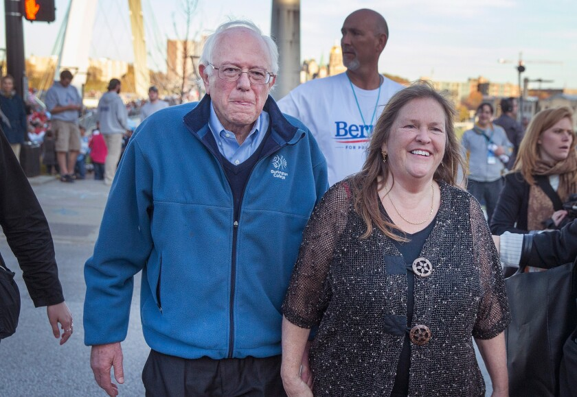 Democratic presidential candidate Bernie Sanders and his wife Jane head to a fundraiser for Iowa's Democratic Party on Oct. 24.