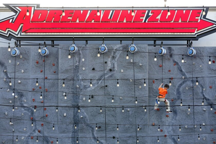 The climbing wall at Belmont Park is among a number of new attractions and dining venues that the operators of the Mission Beach amusement park have added over the last couple of years.