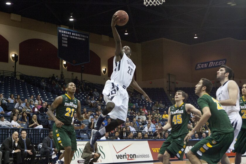 Toreros' Cameron Miles takes the ball to the basket against the San Francisco Dons at University of San Diego Thursday during the second half.