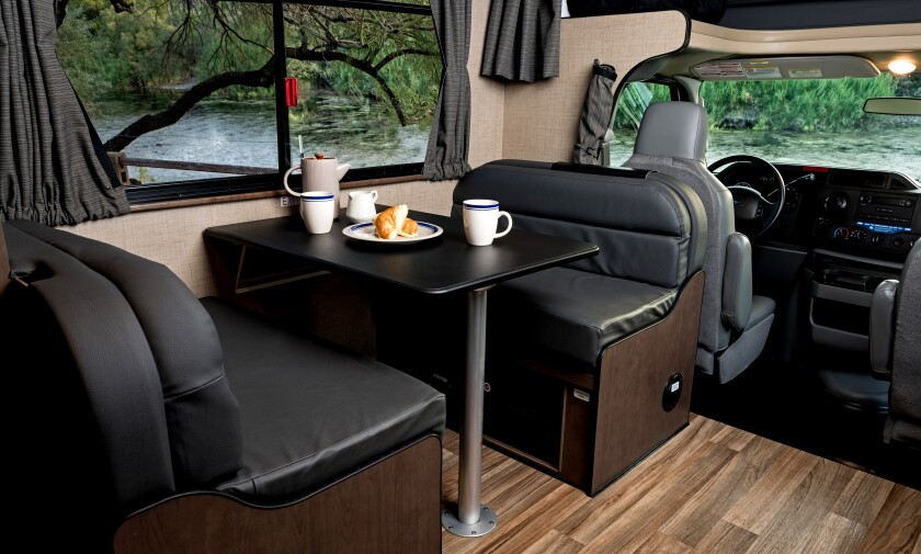 The interior of a Cruise America RV.