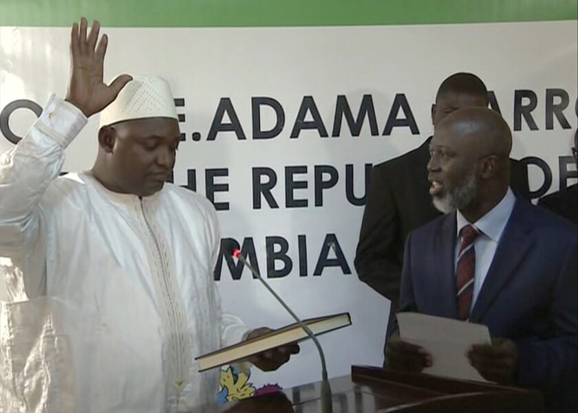 New Gambian president sworn into office