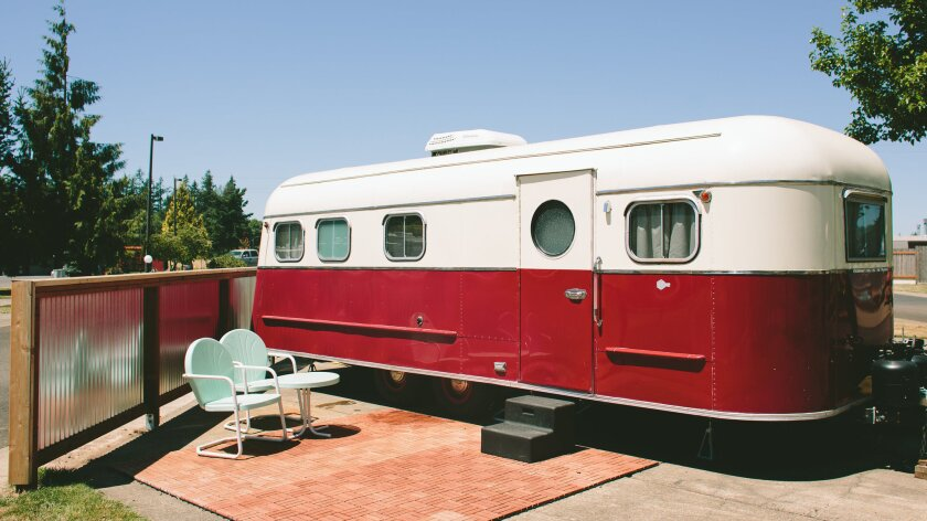 The M-System Special Deluxe, a trailer built in 1951, is among the 17 classic trailers that can be rented by the night at the Vintages Trailer Resort in Dayton, Ore.