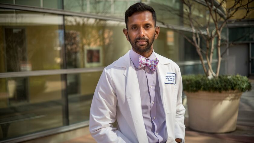 Jerome Chelliah is one of three male OB-GYN residents at Kaiser Santa Clara out of a total of 16. Next year, he'll probably be the only man in the program.