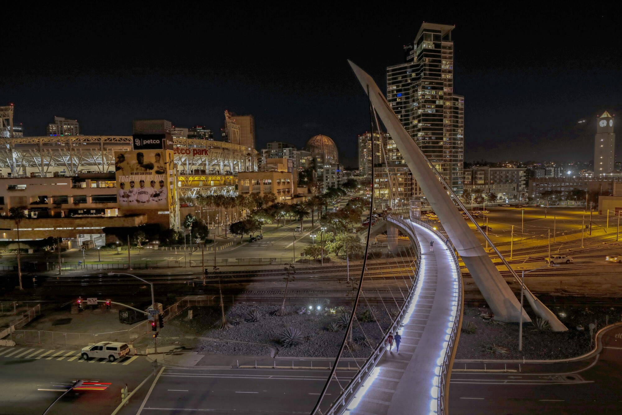 The Harbor Drive pedestrian bridge links the Convention Center to the East Village, Petco Park and the Gaslamp Quarter.