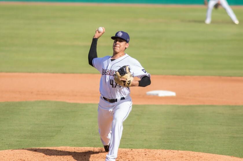 Padres pitching prospect Adrian Martinez began the 2021 season at Double-A San Antonio.