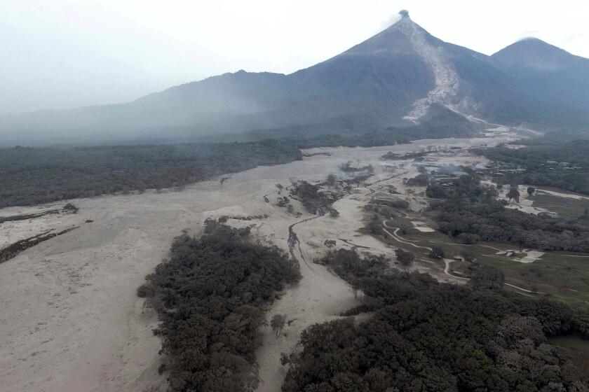 "Aerial view near the Volcan del Fuego, or ""Volcano of Fire,"" in Escuintla, Guatemala."