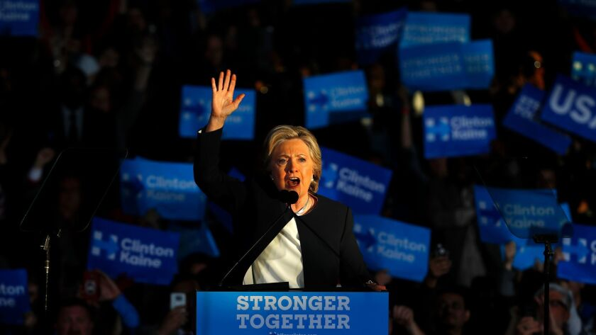 Hillary Clinton speaks Friday at a rally in Detroit.