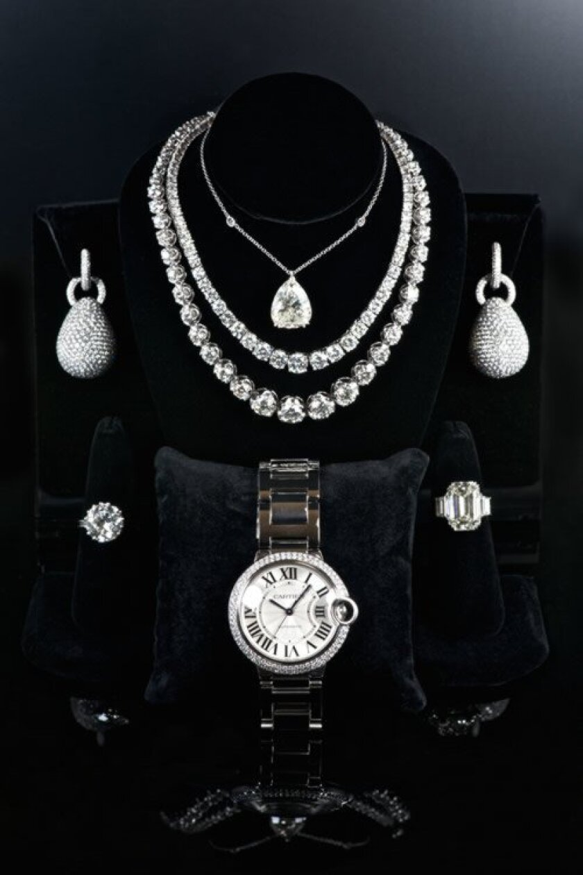 Diamond jewelry and watches are on display at Diamond Estate Jewelry Buyers in La Jolla. (Courtesy Photo)
