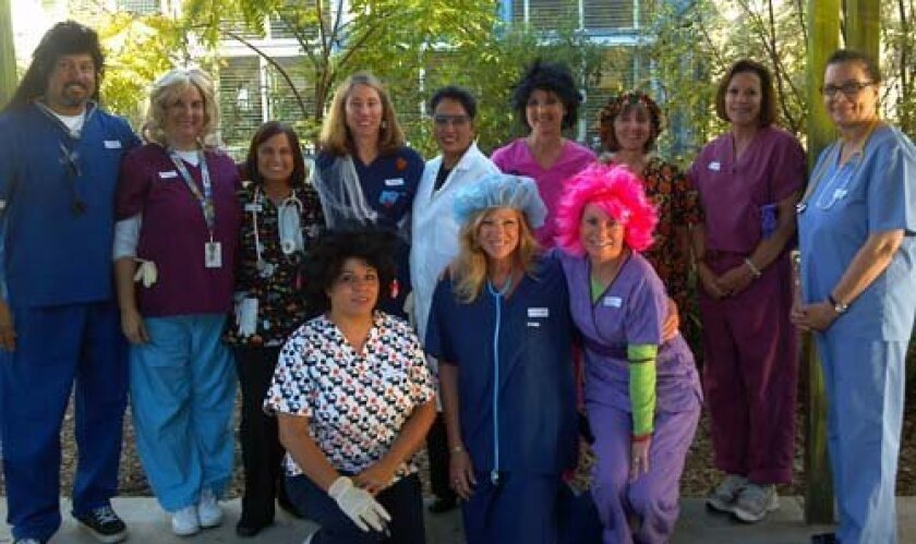 The staff at Muirlands Middle School is in the Halloween spirit. Photo: Courtesy