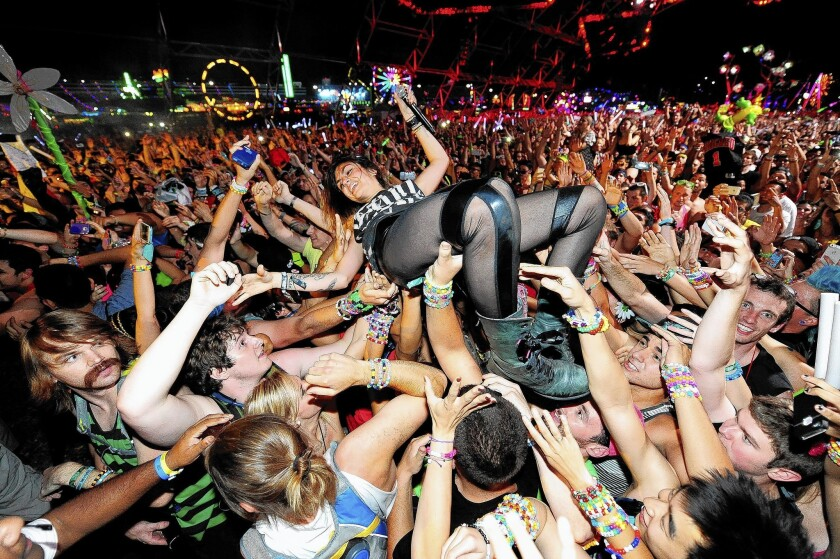 DJ Jahan Yousaf of Krewella crowd-surfs while performing at last year's Electric Daisy Carnival.