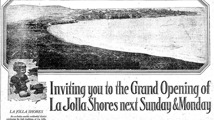 Advertisement for La Jolla Shores, Feb. 14, 1926. (The San Diego Union)