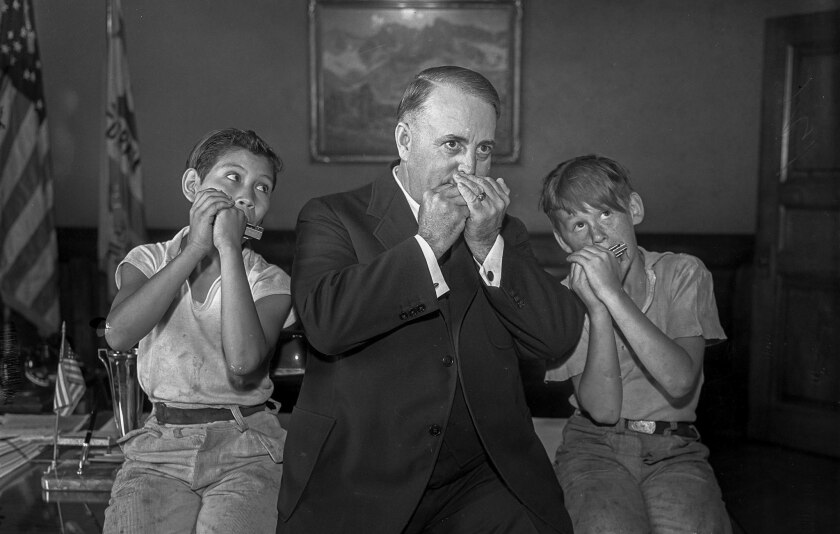 June 27, 1935: Mayor Frank Shaw with Manuel Martinez, left, and Herman Bower, in photo to promote Ha
